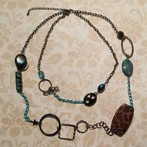 Jewelry - Blue, black, and cheetah design Necklace